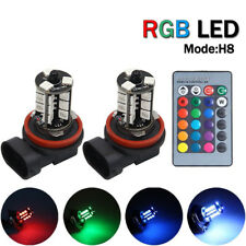 2x LED 27 SMD 5050 RGB Car Headlight H8 H11 Fog Light Lamp Driving Bulb Remote