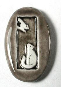 "Vintage Artisan Porcelain Button Cat Watches Bird in Tree - 15/16"""
