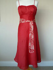 Stunning Monsoon Red Linen Silk Strappy Dress Size 8 Perfect Wedding Races
