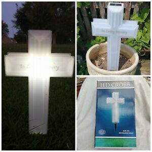 "Fabulous Solar Powered LED Cross 15"" In Loving Memory Lawn Memorial Decoration"