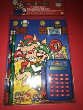 Super Mario Calculator Set Pencils Notebook Eraser Sharpener NEW School Nintendo