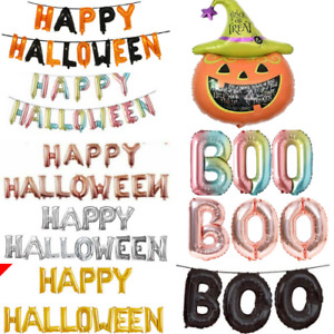 """16"""" Foil Happy Halloween Balloons Letter Party Hanging Pumpkin BOO Latex Baloons"""