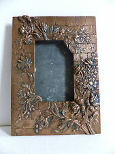 SUPERB ANTIQUE ART NOUVEAU COPPER PICTURE FRAME INSECTE FLOWERS in RELIEF 1900