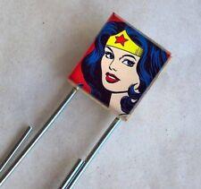 Wonder Woman Bookmark Vintage Altered Art Scrabble Charm Superheroine