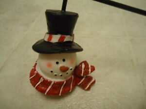 "The Finishing Touch Snowman Head Candle Snuffer W/ Candy Cane Handle Boxed 10"" L"