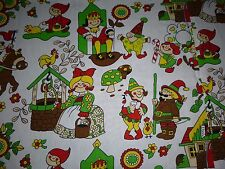 "2 HUGE Vtg 83"" x 76"" Cotton Fabric Panels MOD Fairy Tale Nursery Rhyme Theme"