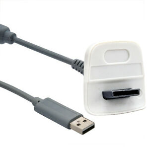 USB Charger Lead Cable for Microsoft Xbox 360 Wireless Gamepad Controller Grey