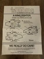 STAR WARS A WING FIGHTER INSTRUCTION SHEET KENNER VINTAGE 1984 POTF ROTJ LANDO