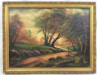 Vintage Oil Painting on Canvas Framed Signed Martuzzi Woodland Landscape Italian