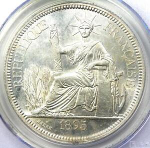 1895-A French Indo China Piastre Coin 1P - PCGS MS62 (BU UNC) - Rare Grade!