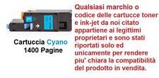CARTUCCIA CYANO EPSON S050613 STAMPANTI ACULASER CX17 C1700 C1750W CX17WF CX17NF