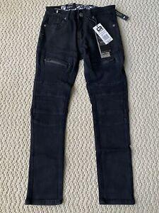NWT Boy's LR Scoop BDA Black Moto Leg Zipper Stretch Skinny Jeans ALL SIZES 8-12