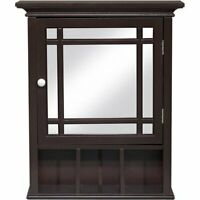 Mirror Medicine Cabinet Shelf Organizer Storage Wall Mount Wood Bathroom Modern