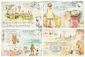 Set of FOUR Winnie the Pooh Ephemera Postcard 3.5x5 Craft Quilt Cotton Fabric