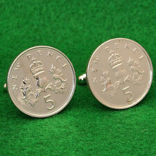 Scottish Thistle Coin Cufflinks, 5 New Pence QE2 Great Britain UK