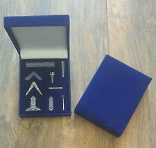 More details for freemason / masonic square and compasses miniature working tools in a blue...