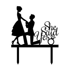 She Said Yes Proposal Engagement Party Bridal Shower Cake Topper Decoration Sign