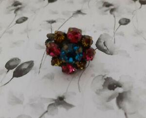 Modeschmuck Ring Konplott verstellbar Blume pink grün blau bunt
