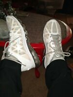 NIKE AIR MAX+ 2011 WHITE/SILVER  429889 101 RUNNING SHOES Men's Size 9.5 GREAT