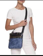Juicy Couture Denim Printed Crossbody Bag Vegan Leather Blue Black Sequined Mini