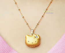 Cute Hello Kitty 3D Women Girls' Gold-plated Pendant Necklace c/w gift box