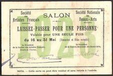 Invitation. Salon Société des Artistes Français. 1923. deux laissez-passer