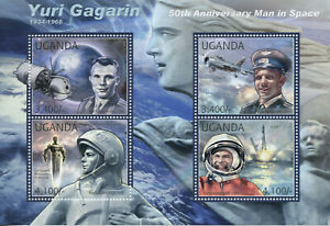 Uganda Space Stamps 2012 MNH Yuri Gagarin Famous People Aviation Mig-15 4v M/S