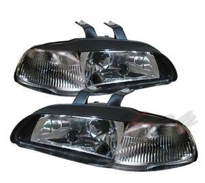 Fit 92-95 Honda Civic 2/3 Dr 1 Piece Headlight Black / Clear Signal Reflector