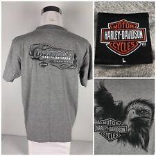 Harley Davidson Mens Large Shirt Gray Eagle Daytona Beach Florida Made In USA