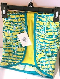 Reebok PlayDry Girl's Yellow/Teal, Wild Static Comfortable Running Shorts