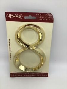 """WHITEHALL Door House Address Street Number 8 #8 Polished Brass  6"""" 152mm 6 in"""