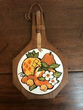 "VINTAGE 1970s ""FRUIT"" CHEESE BOARD & KNIFE SET Never Used Wood With Ceramic Tile"