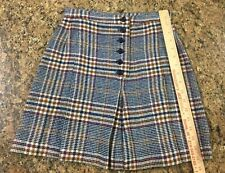 Vintage Pied Piper Casuals Inc. Wool A-Line Pleat Skirt Plaid 1970's Girls