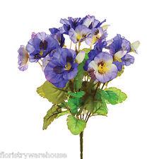 Artificial Silk Flowers Pansy Bunch Pansies Purple 26cm