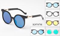 Round Sunglasses Flat Lens Flash Mirror Lens Metal Temples Designer Inspired UV