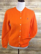 Ralph Lauren Bright Orange Cardigan Sweater 100% Wool Women's Size Large New!
