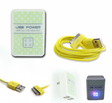 4 USB PORT WALL ADAPTER+10FT CORD CHARGER SYNC YELLOW FOR IPHONE IPOD TOUCH IPAD