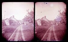 ANTIQUE GLASS NEGATIVE, FC PHILPOT, LIMERICK ME., DIRT ROAD AND FARM, STEREOVIEW