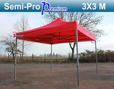 Barnum Pliant Acier laqué 3x3m section 40mm toit 300g/m² Rouge