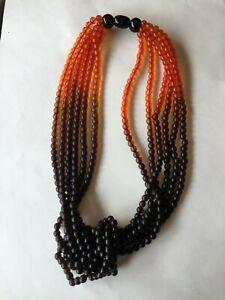 Pono Made In Italy Multi Strand Caviar Necklace - Orange to Black/Brown Gradient