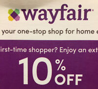 First Time User  Wayfair Coupon 10% Off ~ Promo Code Expires December 30, 2020