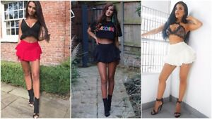 UK Womens Ruffled Frill Skorts High Waisted Ladies Party Mini Skirt Dress Shorts