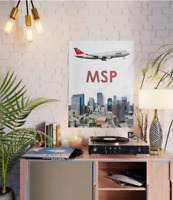 "Northwest Airlines Boeing 747 over MSP art - 18"" x 24"" Poster"