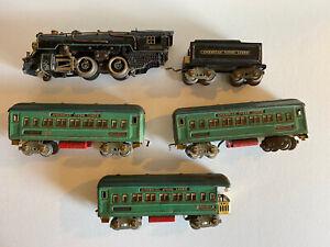 American Flyer O gauge Locomotive & Tender w/3 Pullman Passenger Coach Cars