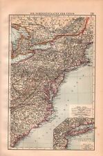 Antique Big Size map. Usa. North East States Of United States. 1896