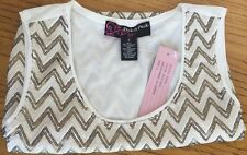Womens Sequin Cami Gold Silver White Chevron Pattern Size S