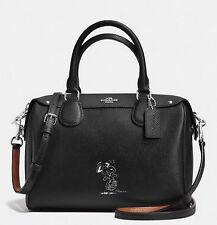 Coach X Peanuts Snoopy Mini Bennett F37272 Black Leather Satchel Limited Edition