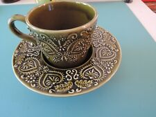 Portugal Art Pottery Secla Deep Cup and Saucer Olive Green Ceramic