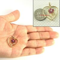 14k Yellow Solid Gold Heart Design Genuine Natural Rubies & Diamond Pendant TPJ