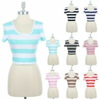Women's Stripes Round Neck Short Sleeve Cropped Top Cotton Spandex S M L